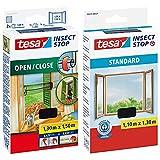 tesa Insect Stop COMFORT Open / Close Fliegengitter Fenster zum Öffnen und Schließen, 130 cm x 150 cm & Insect Stop STANDARD Fliegengitter für Fenster - 1 x Fliegen Netz anthrazit - 110 cm x 130 cm
