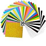 Ohuhu Plotterfolie Textil Glitzerfarben, 36 Stück 30.48×25.4 cm Flexfolie Plotter Textil, Transferfolie Textil für T-Shirt, Kleidung, Hüte oder andere Stoffe